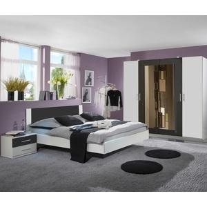 Schlafzimmer Nora Kleiderschrank Doppelbett 180x200 Nachttische weiß anthrazit