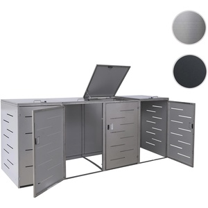 4er-Mülltonnenverkleidung HWC-E83, Mülltonnenbox Mülltonnenabdeckung, erweiterbar 108x61x76cm ~ Edel