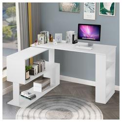 Flieks Schreibtisch, Eckschreibtisch Computertisch Bürotisch Gaming Tisch, 360-Grad-Drehung, offene Regale zur Aufbewahrung weiß