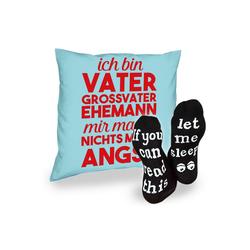 Soreso® Dekokissen Kissen Ich bin Vater Großvater Ehemann & Sprüche Socken Sleep, Vatertagsgeschenk Opa Männer blau