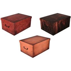 KREHER Aufbewahrungsbox Leather, 3er-Set bunt