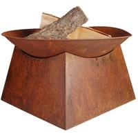 Esschert Design Feuerschale mit Sockel, rostig, 33 x 57 x 57 cm