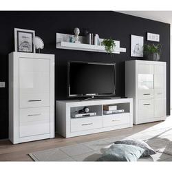 Schrankwand in Hochglanz Weiß 315 cm (vierteilig)