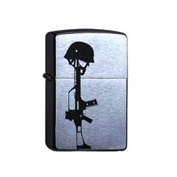 elbedruck Tischfeuer Zippo Feuerzeug mit Gravur G3 und Helm. Bundeswehr Soldat Sturmfeuerzeug graviert mit Gewehr