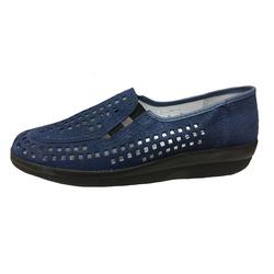 Franken-Schuhe Franken Schuhe Damen Slipper 7499-12 jute blau Slipper 37