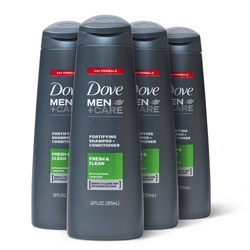 Dove Men+Care Fortifying 2 in 1 Shampoo and Conditioner for Normal to Oily Hair Fresh and Clean with Caffeine - 12 fl oz/4ct