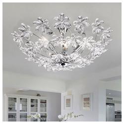etc-shop Deckenleuchte, Deckenlampe Blumen Kristall Deckenleuchte silber Wohnzimmer Deckenlampe Kristall, aus Chrom und klaren Kristallblüten, 6x E14, DxH 67 x 31 cm