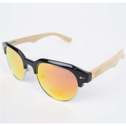 Sonnenbrille SNOWBITCH - Black frame bamboo arms with Red lens 23 (BLACK)