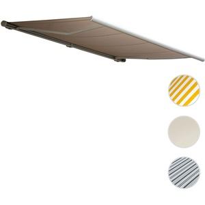 Elektrische Kassettenmarkise T123, Markise Vollkassette 4,5x3m ~ Polyester Sand