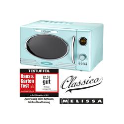 MELISSA Mikrowelle 16330122 Retro Classico Mikrowelle 900 Watt 25 Liter Garraum, Design Mikrowelle mit Grill 1000 Watt Peppermint/Baby Blau, Grill