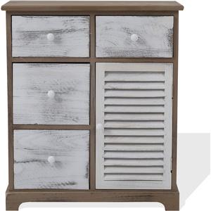 Rebecca Mobili Schubladenschrank im Vintage-Stil, Kommode in Grau Braun Weiß, 4 Schubladen 1 Tür, Holz, als Wohneinrichtung für Schlafzimmer Eingang – Maße: 70 x 60 x 30 cm (HxLxB) – Art. RE6074