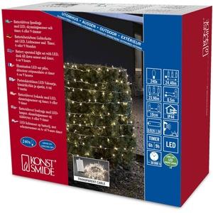 Konstsmide 3730-103 LED Lichterkette / für Außen (IP44) / Batteriebetrieben: 4xD 1.5V (exkl.) / mit Lichtsensor, 6h und 9h Timer / 240 warm weiße Dioden / transparentes Kabel