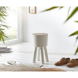 DELIFE Sitzhocker Suarholz, Weiss Baumstamm 30x30 cm Beistelltisch