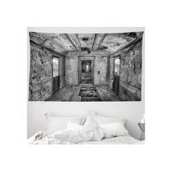 Wandteppich aus Weiches Mikrofaser Stoff Für das Wohn und Schlafzimmer, Abakuhaus, rechteckig, Schwarz Antike Eisenbahnwaggon 230 cm x 140 cm