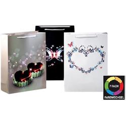 JOKA international Geschenkpapier LED Geschenktaschen Herzen 3er Set Gross 14129, Geschenktasche mit Beleuchtung