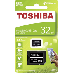Toshiba 32GB Toshiba M203 microSDHC Speicherkarte UHS-1 Class10 mit SD-Adapter Speicherkarte (32GB GB)