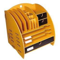 WERKHAUS® Briefablage Werkhaus - Ablage Leo Organizer Gelb Briefablage Stiftehalter Schreibtisch Holz