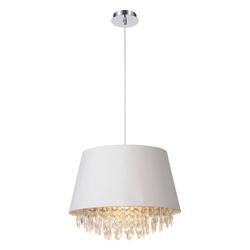 click-licht Hängeleuchte Pendelleuchte Dolti in weiß, mit Kristallbehang,, Hängeleuchte, Pendellampe, Pendelleuchte weiß