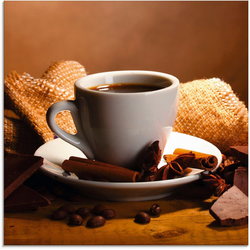 Artland Glasbild Kaffeetasse Zimtstange Nüsse Schokolade, Getränke (1 Stück) 30 cm x 30 cm