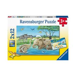 Ravensburger Puzzle Puzzle Tierkinder aus aller Welt, 2x12 Teile, Puzzleteile