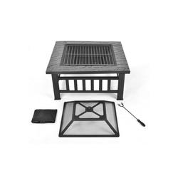 Merax Feuerschale, (Feuerstelle mit Grillrost 3 in 1)