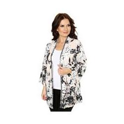 TOGETHER Kimono-Jacke 3/4-Arm Blütendruck Dekorleiste