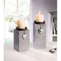 Home-trends24.de Kerzenhalter Kerzenhalter Teelichthalter Kerzen Deko Windlicht Grau 2er Set