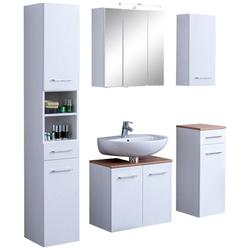 HELD MÖBEL Badmöbel-Set Avignon, (5-tlg), mit 3D-Spiegelschrank mit LED-Aufsatzleuchte weiß