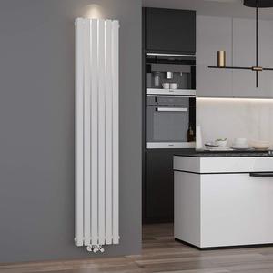 ELEGANT Design Paneelheizkörper Röhren 1800 x 354 mm Weiß Doppellagig Badheizkörper Mittelanschluss Vertikal Röhren Heizkörper