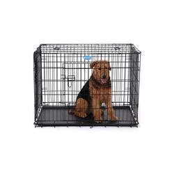 FEANDREA Hundezwinger PPD30H PPD36H PPD42H, Hundezwinger Hundebox Schutzgitter klappbar 106 x 70 x 77,5 cm schwarz 70 cm x 106 cm x 77.5 cm
