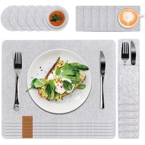 FASCINATE Platzset Abwischbar aus Filz 24 er Tischset Filz Set mit Glasuntersetzer und Bestecktaschen, Waschbare Tischuntersetzer Platzdeckchen, Abwischbar Untersetzer Filzmatte