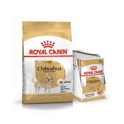 ROYAL CANIN Chihuahua Adult Hundefutter trocken 3 kg + Chihuahua nass in Soße 12 x 85 g