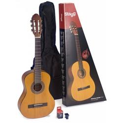 Stagg Konzertgitarre 3/4 Gitarren Set - Natur 3/4, mit Tasche und Stimmgerät