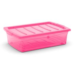 KIS Spinning Box Unterbettbox M, 30 Liter, Unterbettbox mit Rollen, Farbe: fuchsia-transluzent