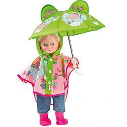 Regen-Set mit Puppenschirm und Regenstiefeln Gr. 35-45 cm