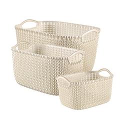 curver KNIT XS+S+L Aufbewahrungsboxen weiß 39,6 x 28,8 x 23,6 cm
