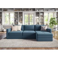 sit&more Ecksofa, mit Recamiere und 1 Bettfunktion blau