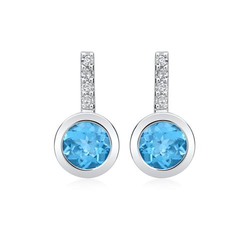 585er Ohrringe 2 Topase 8 Diamanten