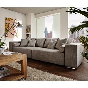 DELIFE XXL-Couch Marbeya mit Kissen Bigsofa grau