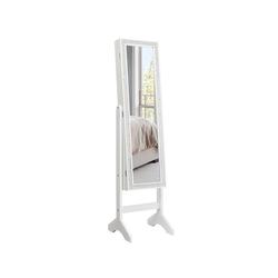 COSTWAY Schmuckschrank Spiegelschrank, Standspiegel mit Spiegel, für alle Arten von Schmuck weiß