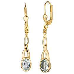 JOBO Paar Ohrhänger, 585 Gold mit Aquamarin