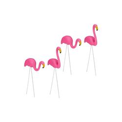 relaxdays Gartenfigur 4 x Flamingo Figur