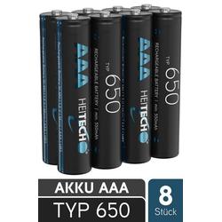 HEITECH 650 Akku AAA Micro - 8x NiMH Wiederaufladbare Batterien mit min. 550mAh & 1,2V - Akkus mit geringer Selbstentladung für Geräte mit hohem Stromverbrauch - Akkubatterien ideal für Telefon Akku