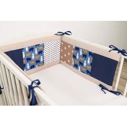 ULLENBOOM ® Bettnestchen Baby Nestchen Sand Bär 180 x 30 cm (Made in EU), (1-tlg), Ideal fürs Babybett (160x20 cm), Bezug aus 100% Baumwolle, Design Patchwork blau