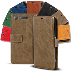 Retro Tasche für Sony Xperia XZ1 Compact Hülle Wallet Case Handyhülle Vintage Slim Cover