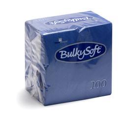 BulkySoft® Cocktail Servietten, 1/4 Falz, 2- lagig, Saugfähige, randgeprägte weiche Serviette aus 100% Zellstoff, 1 Karton = 20 x 100 Servietten, Farbe: blau