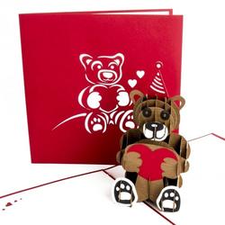 Colognecards Pop-Up Karte Teddybär mit Herz