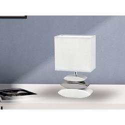FISCHER & HONSEL LED Tischleuchte, kleine Nacht-Tischlampe mit Lampen-Schirm Stoff, Lampe Tisch Design Landhaus modern, Stofflampe Weiß für Wohnzimmer Schlafzimmer & Fensterbank weiß