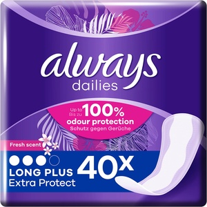 Always Dailies Slipeinlagen Damen Long Plus Fresh Extra Protect (40 Einlagen), Giga Pack, Atmungsaktiv, Flexibel & Bequem, Mit Saugfähigem Kern
