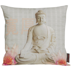 beties Kissenhülle Buddha, Kissenbezug ca. 40x40 cm Digitaldruck aus 100% Baumwolle silberfarben
